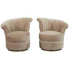 Pair of Beige Velvet Swivel Shell Occasional Chairs