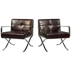 Pair of Brown Vinyl X-Base Lounge Chairs