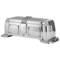 Large 20th Century Art Deco Silver Box by William Hutton Sheffield 1937