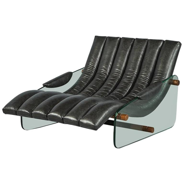 Retro black leather and glass wave chaise for sale at 1stdibs for Black leather chaise sale