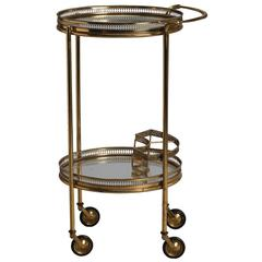 Two-Tier Brass and Glass Bar Trolley