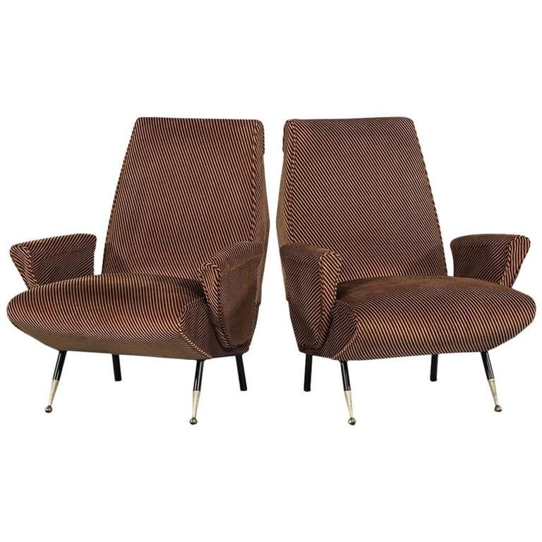 Pair of Stripped Armchairs in the Style of Gio Ponti