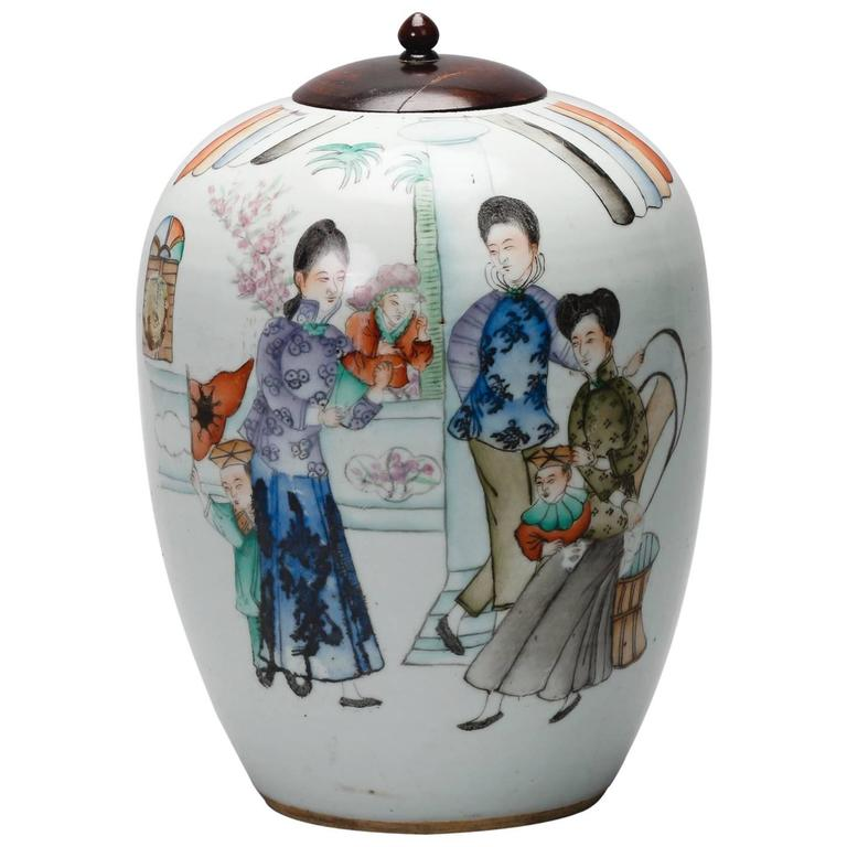 Hand-Painted Chinese Vessel with Lid For Sale