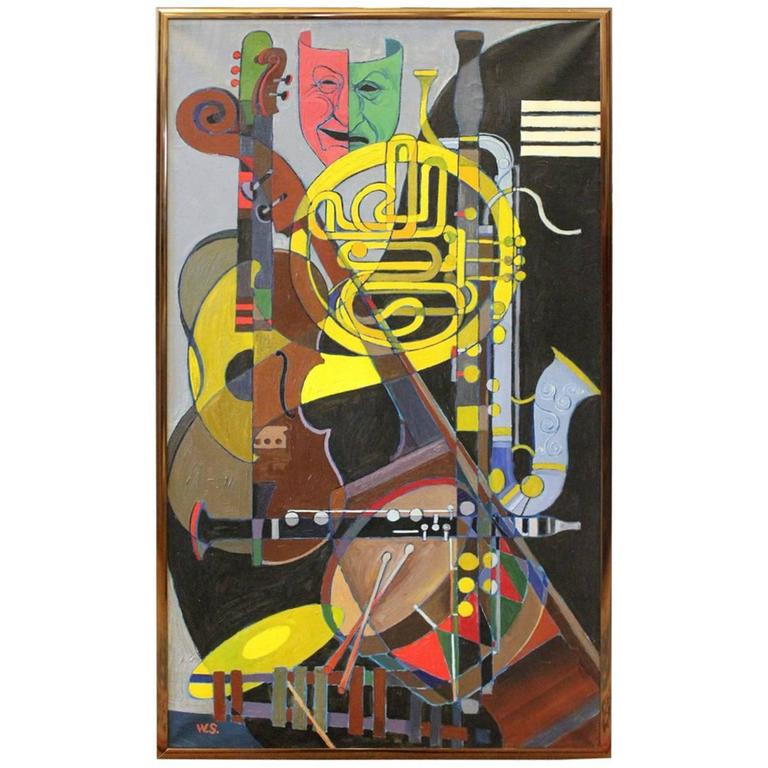 Jazz Band Original Cubist Painting Inspired By Juan Gris G