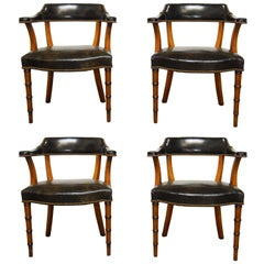 Set of Four Leather and Mahogany Regency Library Chairs