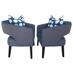 Pair of Modern Indigo Linen Club Chairs