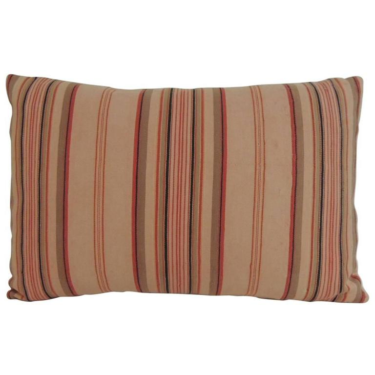Vintage Decorative Pillows : Vintage French Pink and Red Stripes Lumbar Decorative Pillow at 1stdibs