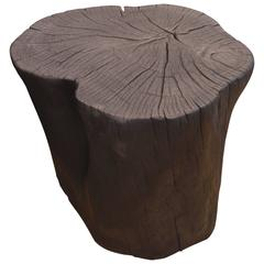 Triple Burnt Teak Wood Side Table