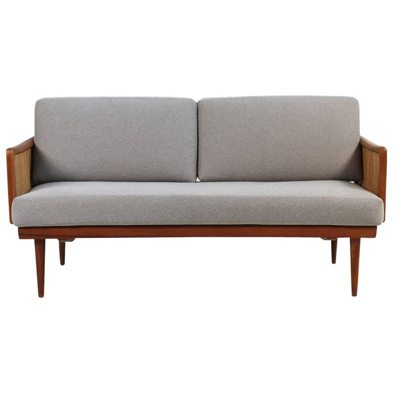 Rare 1960s Peter Hvidt Mod. 451 Daybed France & Daverkosen Teak & Cane Sofa