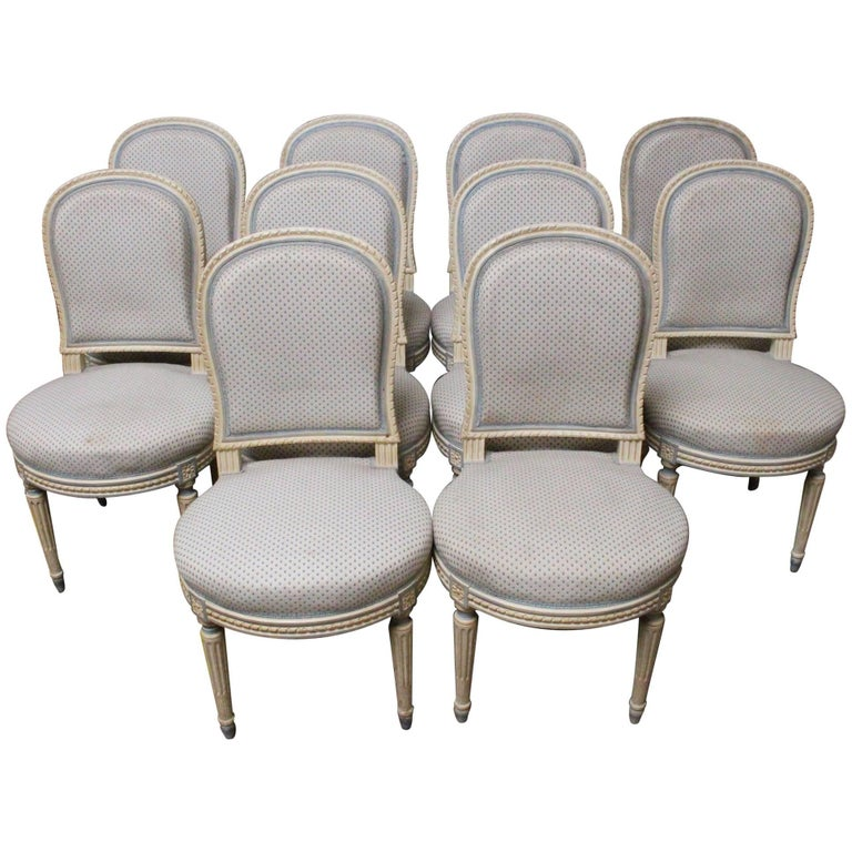 Suite of Ten French Louis XVI Style Dining Chairs For Sale