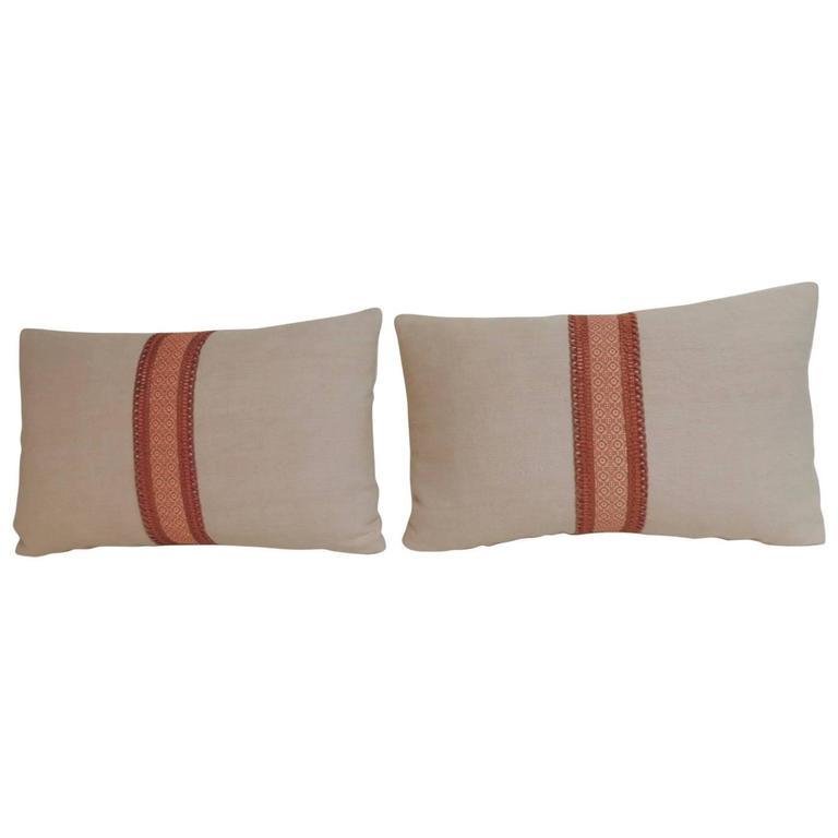 Pair of 19th Century French Pink Linen Decorative Lumbar Pillows