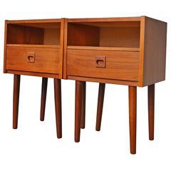 Pair of Petite Danish Modern Teak Nightstands or Bedside Tables