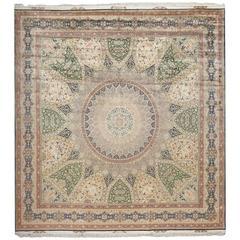 Fine Square Gonbad Design Vintage Silk Tabriz Persian Rug