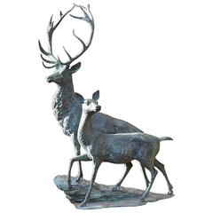 Beautiful Bronze Stag and Doe
