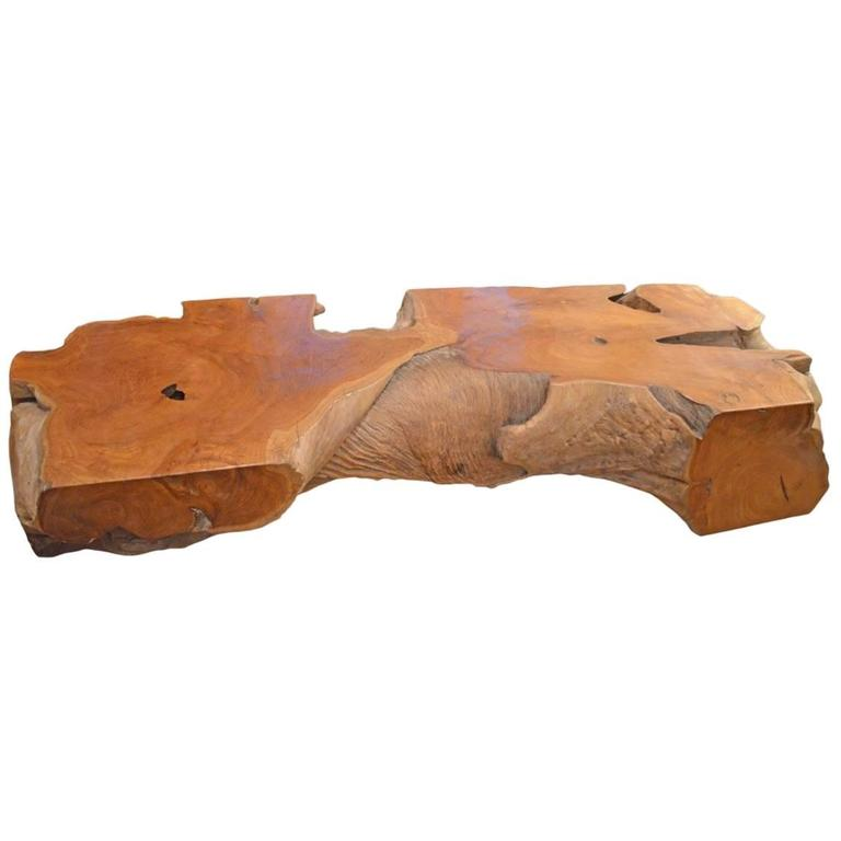 Natural Teak Wood Coffee Table Or Bench At 1stdibs