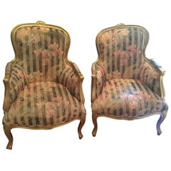 Pair of French Painted Upholstered Armchairs