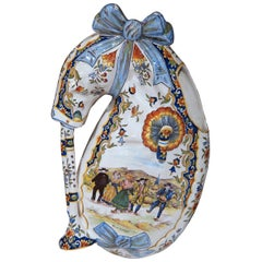 19th Century French Hand Painted Faience Wall Bagpipe Flower Holder