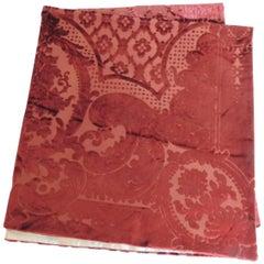 19th century silk velvet Gaufrage red throw
