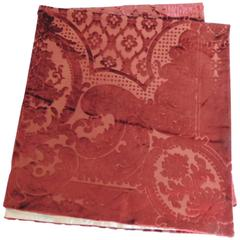 19th century silk velvet Gaufrage red throw