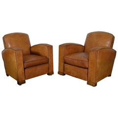 Pair of French Art Deco Club Chairs in Light Tan Leather, Perfect Condition