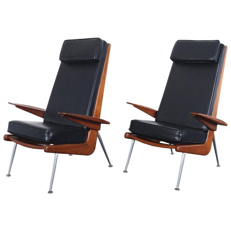 Mid-Century Modern Walnut High Back Chairs