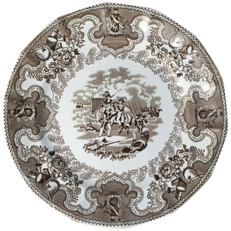 English Brown and White Plate, 'Texian Campaigne' by Thomas Walker For Sale