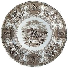 English Brown and White Plate, 'Texian Campaigne' by Thomas Walker