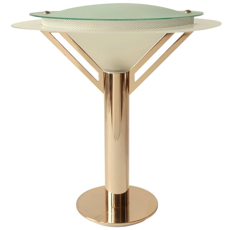 Art Deco Style Gold-Plated &  Glass Table Lamp, 1980s ,  Italia