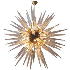 Handblown Murano Glass Spiked Starburst Chandelier