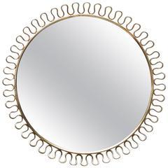 Sculptural Brass Loop Mirror by Josef Frank for Svenskt Tenn Sweden, 1950s