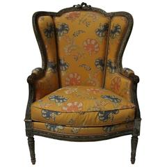 Beautifully Carved, Large Louis XVI Style Bergère with Painted Finish