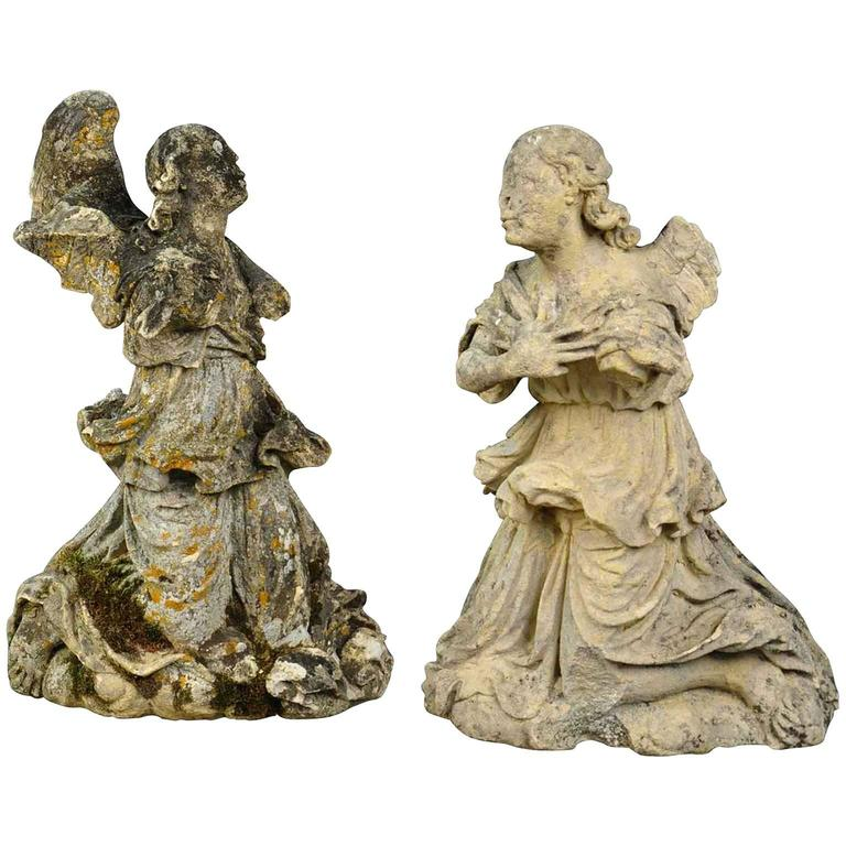 Stunning Pair of French 18th Century Stone Angels