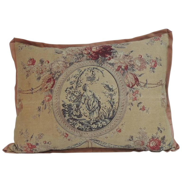 19th century french toile linen decorative large pillow at. Black Bedroom Furniture Sets. Home Design Ideas