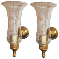 Handsome Pair French Gilt Bronze Hurricane Etched Glass Shade Sconces Fixtures
