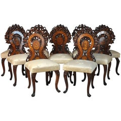Set of Ten Black Forest Style Austrian Open Worked Backed Carved Side Chairs