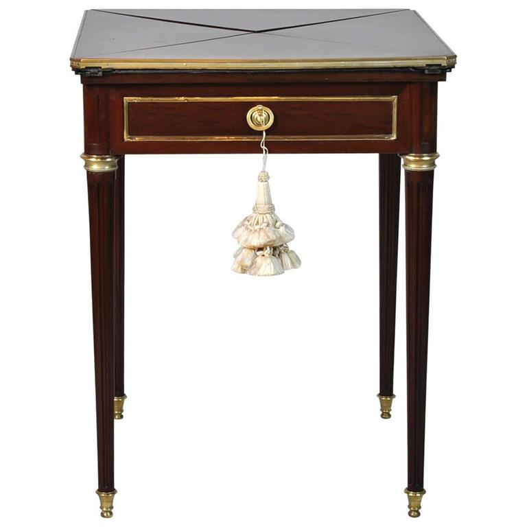 French Louis XVI Style Two Drawer Handkerchief Game Table With Felt  Interior For Sale