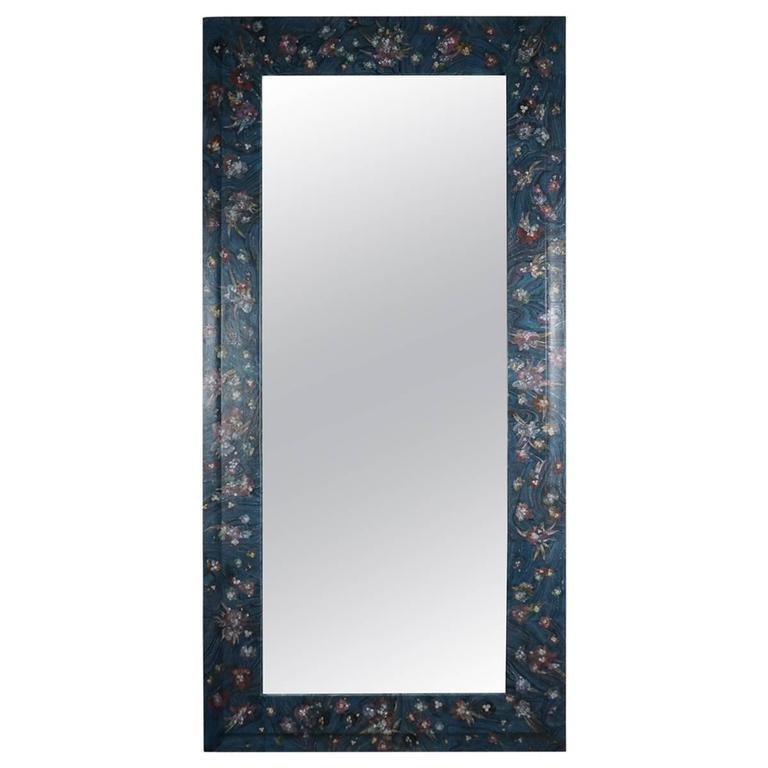 Full Length Decoupage Mirror in Blue