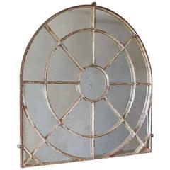 Unusual Overmantel Shaped Cast Iron Window Mirror