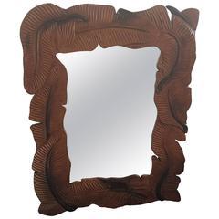 Tropical Leaf Vintage Wood Wall Mirror, Palm Beach Hollywood Regency