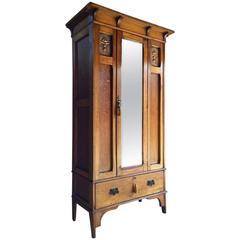 Antique Single Wardrobe Arts & Crafts Copper Edwardian Armoire Mirror