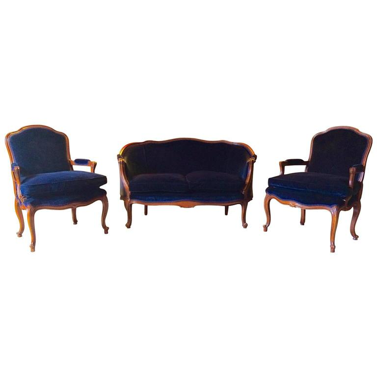 French Louis Xv Style Sofa Settee Armchairs Suite Three