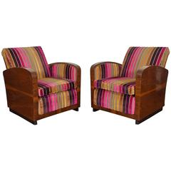 Pair of Italian Art Deco Walnut Veneer and Upholstered Club Chairs, 20th Century