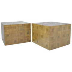 Pair of Parquet Oak Side or Coffee Tables