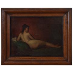 French Reclining Nude in a Walnut Frame, 19th Century