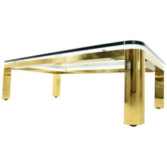 Brass Finish Base Coffee Table with Thick Glass Top, Karl Springer Style