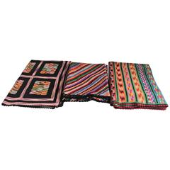 Set of Three Handwoven Crochet Throws
