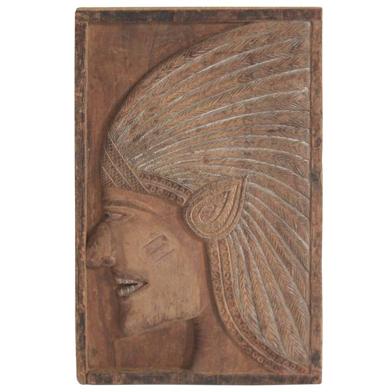 Hand-Carved Wood Indian Chief Plaque For Sale