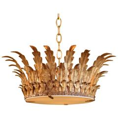 Spanish Gold Crown Light with White Art Glass Diffuser, circa 1950s