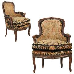 French Louis XV Pair of Fruitwood Bergeres, 19th Century