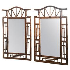 Pair of Pagoda Faux Bamboo Large Wall Mirrors Palm Beach Chinese Chippendale